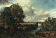 Barges Prints - View of the Stour near Dedham Print by John Constable