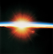 Square Tapestries Textiles - View Of The Sunrise From Space by Stockbyte