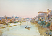 River Painting Framed Prints - View of the Tevere from the Ponte Sisto  Framed Print by Ettore Roesler Franz