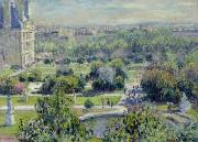 Fountain Painting Prints - View of the Tuileries Gardens Print by Claude Monet