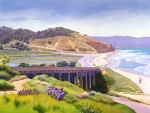 Lagoon Painting Prints - View of Torrey Pines Print by Mary Helmreich