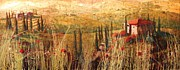 Italian Wine Paintings - View of Tuscany by Christopher Clark