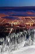 Ski Hill Prints - View of Vancouver from Grouse mountain at sunset Print by Pierre Leclerc