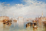 Maggiore Painting Posters - View of Venice The Ducal Palace Dogana and Part of San Giorgio Poster by Joseph Mallord William Turner