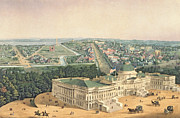 Carriage Horses Paintings - View of Washington DC by Edward Sachse