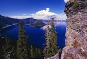 Ledge Photos - View Of Wizard Island At Crater Lake by Natural Selection Craig Tuttle