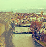 Tilt Shift Framed Prints - View Of Zurich Over Limmat River On A Rainy Day Framed Print by Irene Lamprakou