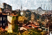 Turkey Mixed Media Prints - View on Beyoglu - Istanbul Print by Dariusz Gudowicz