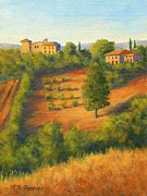 Villa Painting Originals - View on the Hill Italy by Elaine Farmer
