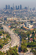 Los Angeles Skyline Framed Prints - View Over Hollywood & Downtown Los Angeles Framed Print by Photograph by Geoffrey George