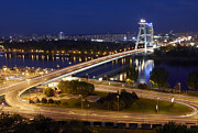 Most Photo Posters - View Over Novy Most Bridge At Night Poster by Allan Baxter
