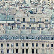 Cream Color Posters - View Over Rooftops Of Paris Poster by Cindy Prins