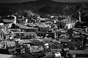 View Over Framed Prints - View Over Rooftops Of Traditional Stone Houses And Steep Streets In Pano Lefkara Republic Of Cyprus  Framed Print by Joe Fox