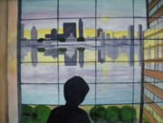 New Jersey Painting Originals - View Over the Hudson by CB Woodling