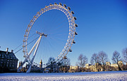 Large Clock Posters - View Over The Snow Covered Ground Towards The London Eye, Big Ben And The Houses Of Parliament, Southbank, London, London, England Poster by VisitBritain/Britain on View