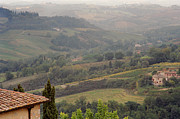 Tuscan Hills Framed Prints - View Over the Tuscan Hills From San Gimignano Italy Framed Print by Greg Matchick