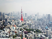 Communications Tower Prints - View Over Tokyo With Tokyo Tower Print by Allan Baxter