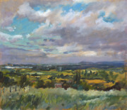 North Wales Paintings - View over Wrexham in North Wales by Andrew Taylor