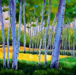 Yellow Leaves Painting Posters - View Through Aspen Poster by Johnathan Harris