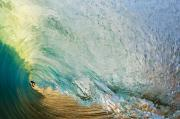 Surf Silhouette Prints - View through Wave Tube Print by Quincy Dein - Printscapes