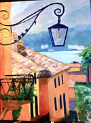 Lago Di Como Posters - View to Lake Como Poster by Linda Scott