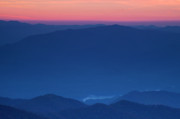 Sunset Prints - View towards Fontana Lake at Sunset Print by Andrew Soundarajan