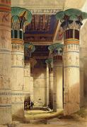 Egypt Prints - View under the Grand Portico Print by David Roberts
