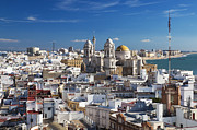 Cadiz Framed Prints - View W/cathedral From Torre Tavira Tower Framed Print by Walter Bibikow