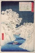 Winter Night Framed Prints - Views of Edo Framed Print by Hiroshige