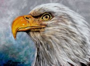 Eagle Pastels Metal Prints - Vigilant Eagle Metal Print by Patricia L Davidson