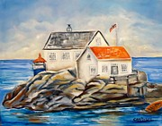 North Sea Paintings - Vikeholmen Lighthouse II by Carol Allen Anfinsen