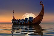 Night Digital Art Framed Prints - Viking Boat Framed Print by Corey Ford