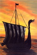 Viking Ship Paintings - Viking Dawn by Deborah Duffy