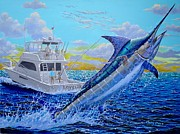 Black Marlin Framed Prints - Viking Marlin Framed Print by Carey Chen