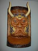 Brown Reliefs - Viking Mask  by Shane  Tweten