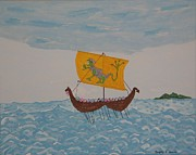 Viking Ship Paintings - Vikings by Gregory Davis