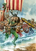 Viking Ship Paintings - Vikings by Pete Jackson