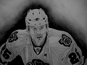 Nhl Hockey Drawings Prints - Viktor Stalberg Print by Melissa Goodrich