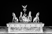 Berlin Germany Framed Prints - viktoria with quadriga on top of the Brandenburg gate at night Berlin Germany Framed Print by Joe Fox
