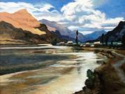 Peru Paintings - Vilcanta River by Oscar Cuadros