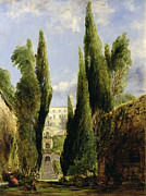 Cypress Trees Prints - Villa DEste Tivoli Print by William Collins