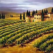 Napa Valley Vineyard Paintings - villa in the Vineyard by Tim Howe