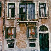 Balcony Mixed Media Posters - Villa Poster by Linda Scharck