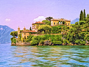 Lago Di Como Posters - Villa on Lake Como Poster by Dominic Piperata
