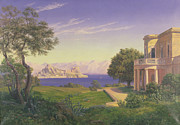 Garden Mountain Paintings - Villa Overlooking Capri  by Anonymous