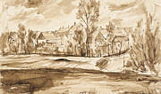 Signed Drawings Prints - Village Print by Aljo Beran