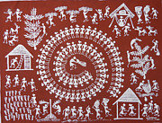 Warli Paintings - Village by Blacred Art