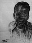 Mood Drawings Prints - Village boy Print by Okwir Isaac