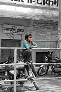 Village Metal Prints - Village boy relaxing Metal Print by Sumit Mehndiratta
