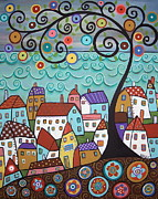 Folk Painting Framed Prints - Village By The Sea Framed Print by Karla Gerard